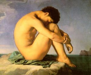 Jeune homme nu assis, 1855 de Flandrin (1805-1864)